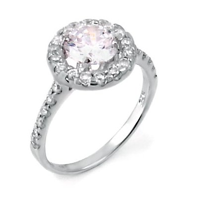 (A3RZ0062) A Spectacular Proposal, Breathtaking Prong Setting Sparkles with Round Cubic Zirconia Stones,3.00 Carat Total Weight, Available in our .925 Sterling Silver, Ring Size- (10)