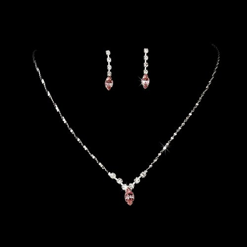 Silver Pink Crystal Rhinestone Bridal Wedding Necklace Earring Set