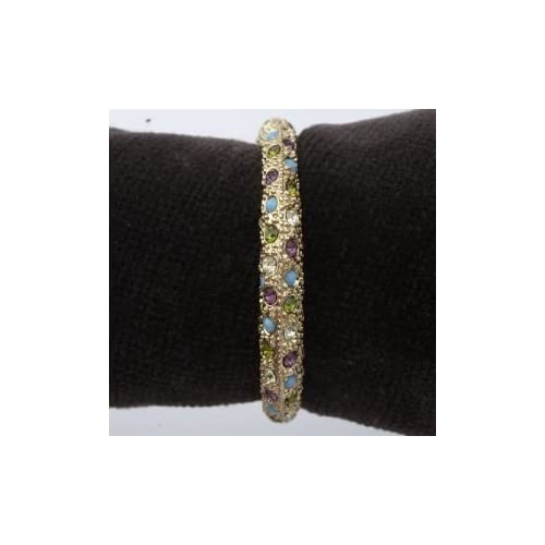 Platinum And Gold Napkin Rings Multi Color Swarovski Crystals On Gold