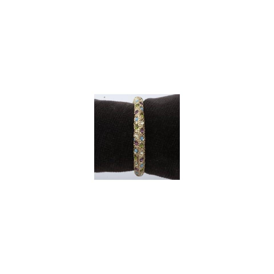 Platinum And Gold Napkin Rings Multi Color Swarovski Crystals On Gold