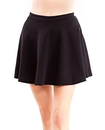 Black Ladies Scuba Skater Skirt Banded Waist Flared Hem