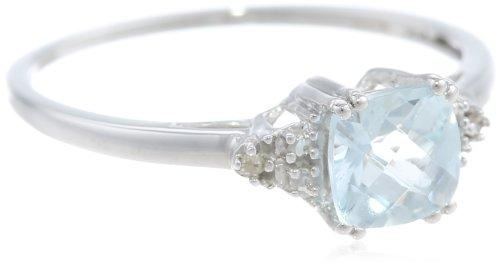 10k White Gold, March Birthstone, Aquamarine and Diamond Ring, Size 8