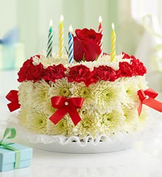 Flowers by 1800Flowers - Birthday Flower Cake Bright