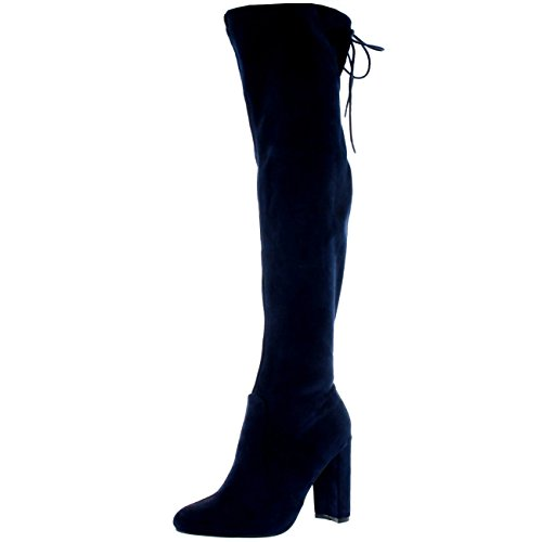 Image of Womens Wide Fit Stretch Long Thigh High Winter Riding Block Heel Boots - Navy - US7/EU38 - KL0079
