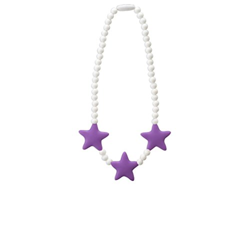 Stimtastic Chewable Silicone Beaded Stars Necklace Nontoxic BPA and Phthalate Free, Lilac/white
