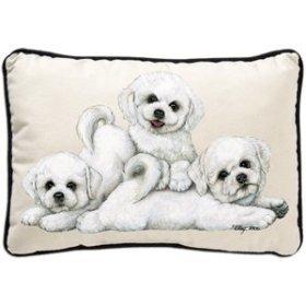 Bichon Frise Puppies Designer Decorative Dog Pillow
