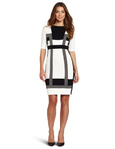 London Times Women's Color Blocked Ponte Sheath Dress
