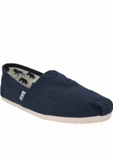 Toms Shoes Mens Espadrilles Navy Canvas Shoes 10