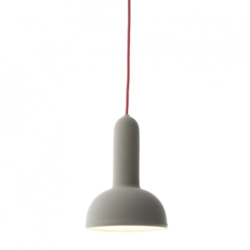 Established & Sons Torch S2 Pendelleuchte, hellgrau rotes Kabel