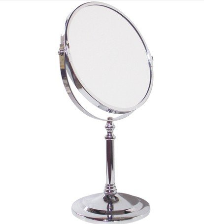 Stainless Steel Sided Portable Desktop Makeup Mirror Vanity Bathroom Mirror front-957989