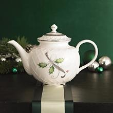 Lenox Holiday Nouveau Carved White Teapot