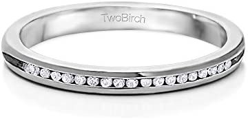 10k Gold Traditional Round Channel Set Wedding Ring with White Sapphire 15 ct twt