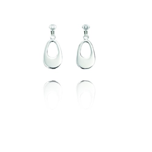 Basics Sterling Silver Cut Out Oval Clip On Earrings