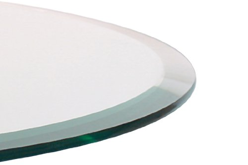 48 Inch Round Glass Table Top, 1/2 Thick, Beveled Edge, Annealed
