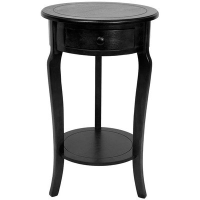Oriental Furniture 26-Inch Classic Round End Table with Drawer Black