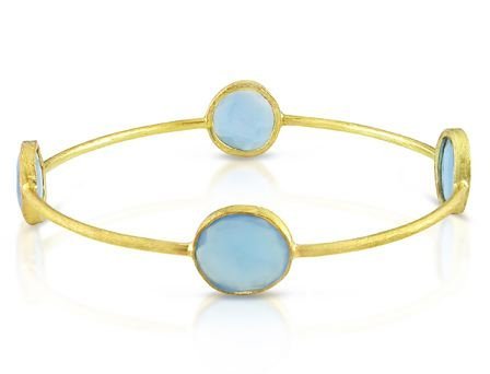 Yellow Gold Plated Silver 16ct TGW Blue Onyx Bangle (8in)