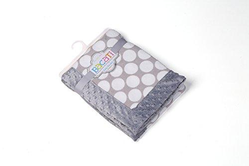 "Bacati Grey Ikat Dots with Border Plush Blanket, Grey/Grey, 30"" x 40"""