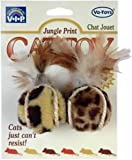 Vo-Toys Jungle Print Bouncing Plush Cat Balls with Feather 2 pack