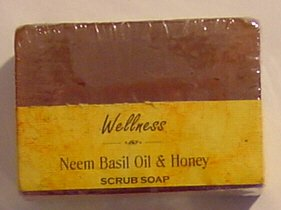 Neem Basil Oil and Honey - Wellness Scrub Soap With Walnut Shell Powder - 125 Gram Bar