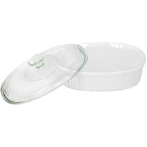 CorningWare 1-1/2-Quart Bake/Serve Dish with Glass Cover, French White (Shallow Baking Dish With Lid compare prices)