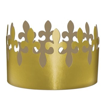 Gold Foil Fleur De Lis Crowns Party Accessory (1 count)