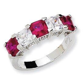 Genuine IceCarats Designer Jewelry Gift Sterling Silver Asscher-Cut Synthetic Ruby/Cz 5-Stone Ring Size 6.00