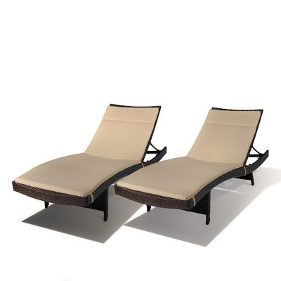 Outdoor Wicker Adjustable Chaise Lounge with Cushion (Set of 2) picture