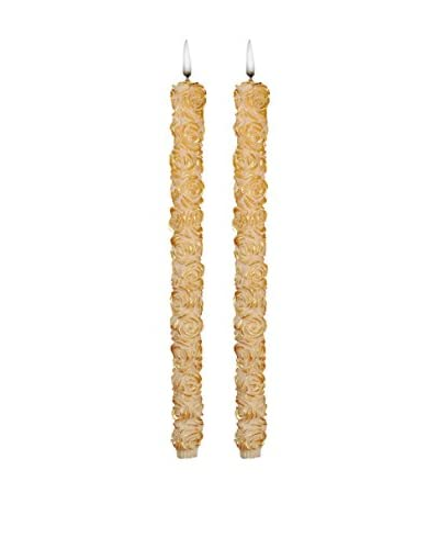 Volcanica Set of 2 Flora Taper Candles, Ivory/Gold