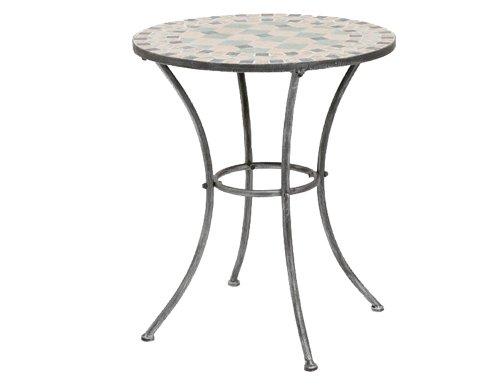 Siena Garden Fiore Table 60 cm Round Black/Silver FrameIron/mosaic effect