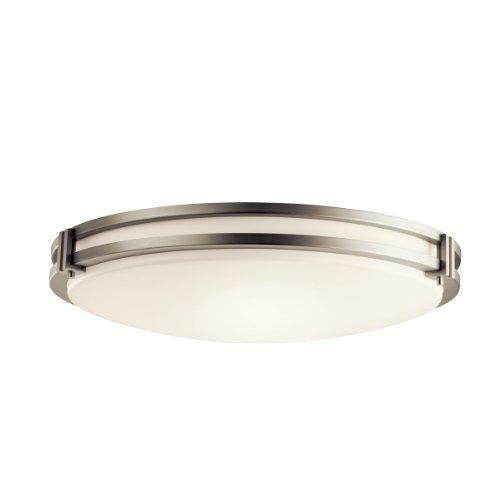 Kichler Lighting 10828NI 3-Light Fluorescent Flush Mount Ceiling Light, Brushed Nickel with White Acrylic Shade