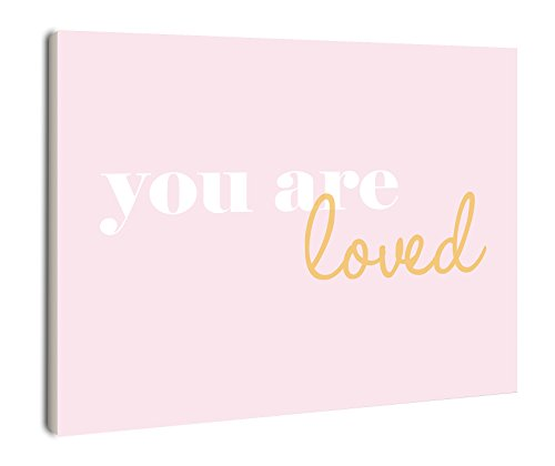 The Kids Room by Stupell You are Loved on Pink Background Rectangle Wall Plaque