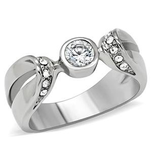 PROMISE RING - High Polished Stainless Steel Featuring a Single Round Cut Bezel CZ SolitaireáRing