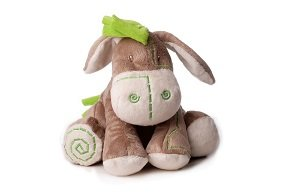 Inware 7789 - Kuscheltier Esel Pauli, 17,5 cm, als Spieluhr, Melodie: Guten Abend, Gute Nacht