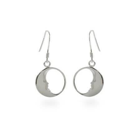 Man in the Moon Sterling Silver Earrings