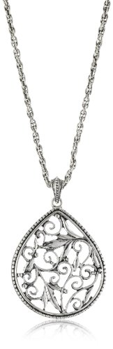 1928 Jewelry Silver Filigree Pendant Necklace: Jewelry
