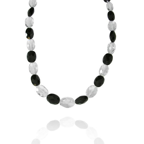 Crystal Oval-Shaped 13x18 with Black Onyx Bead Necklace, 18+2