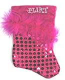 "7"" Pink Sequined Feathered ""Flirt"" Mini Christmas Stocking"
