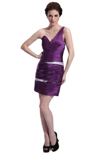 311Sor1aHdL Special Offers: Emma Y Lady Womens One Shoulder Sheath Short Dress