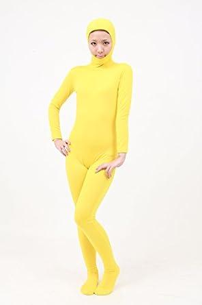 顔部分が開いている 全身タイツ (SS03-2H) XSサイズ(子供用) 黄色