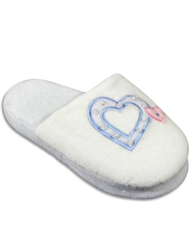 Cheap Private Label – Girls Heart Slipper, Ivory, Light Blue 25015 (B004Z94DH8)