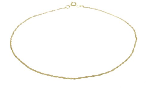9ct Yellow Gold Twist Curb Anklet 22.5cm/9