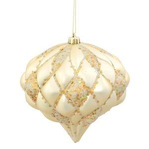 Vickerman 33378 – 5.7″ Champagne Matte Glitter Diamond Onion Christmas Tree Ornament (M112238)