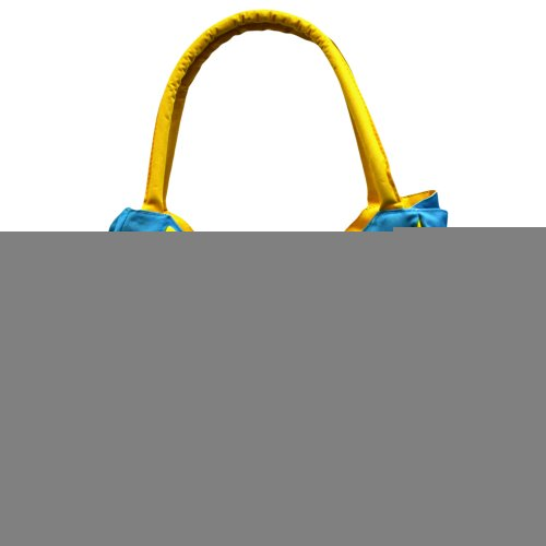 Sky Blue & Yellow Tropical Flower Retro Beach Bag