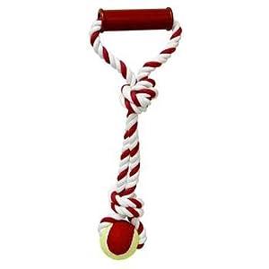 "Rope Handle Tug With Tennis Ball 15"""