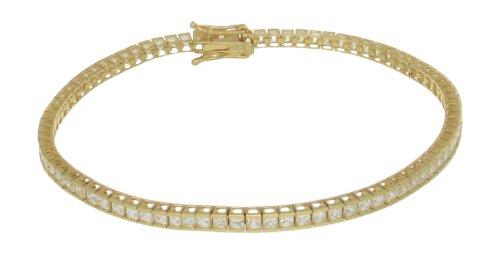 9ct Yellow Gold 2mm Square Cubic Zirconia Tennis Bracelet 19cm/7.5