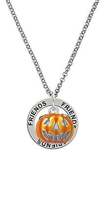 buy 3-D Large Orange Jack O' Lantern With Green Leaves Friends Affirmation Ring Necklace