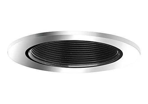 "Aurora 6"" Black Baffle, Polished Chrome Trim For Halo / Juno Recessed Downlight Cans, Par38 Version - Ar-Tr64Bkpc"