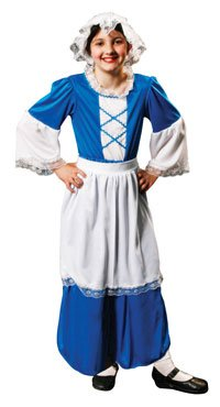 Child Girl's Tudor, Renaissance Servant Girl, Scullery Maid Fancy Dress Outfit. Medium Children's Costume, Fits Approx. Between Ages 7-9 years. Perfect for Book Week or Parties.