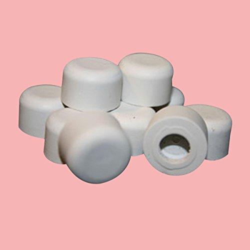 "Premium Silicone White Door Stopper Tips 1/4"" Inner Diameter 10 Count Bag Wall Spring Floor Hinge"