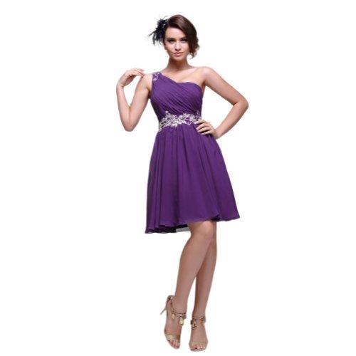 Sunvary Graceful Soft One-shoulder Neckline Appliqued Waist Chiffon Evening Party Dresses Bridesmaid Dresses Short- US Size 22W- Purple